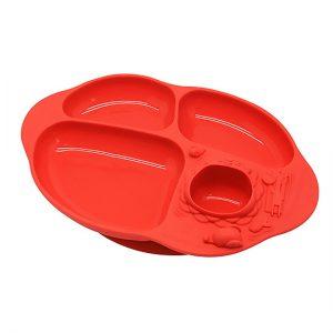 Đĩa ăn silicone chia ngăn có đế hút Marcus đỏ