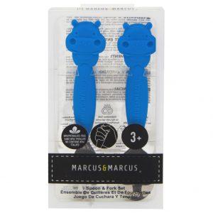 Bộ thìa nĩa Marcus cán dài 3+ xanh DƯƠNG